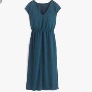 J Crew Perforated Draped Side Slit Dress 4 Teal